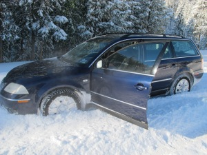 VW Passat snow plow edition. Not stuck, parked!